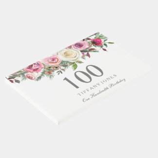 Elegant White Rose Floral 100th Birthday GuestBook