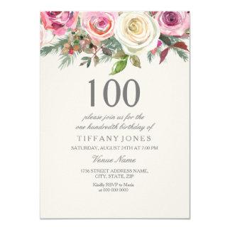 Elegant White Rose Floral 100th Birthday Invite