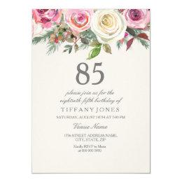 85th birthday invitations announcements zazzle ca elegant white rose floral 85th birthday invite filmwisefo Choice Image