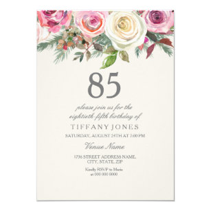 Elegant White Rose Floral 85th Birthday Invite