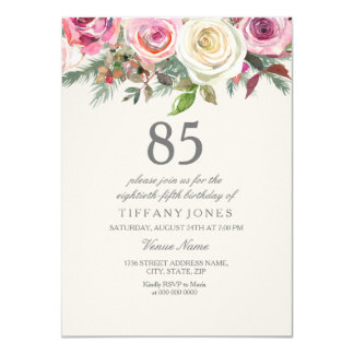 Elegant White Rose Floral 85th Birthday Invite
