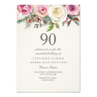 Elegant White Rose Floral 90th Birthday Invite