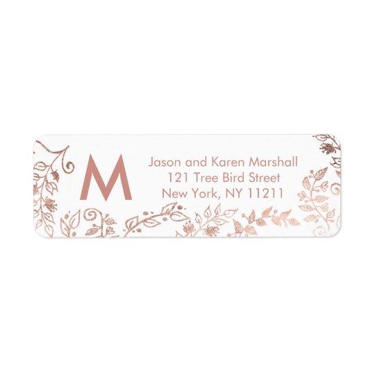 Elegant White Rose Gold Floral Address Labels