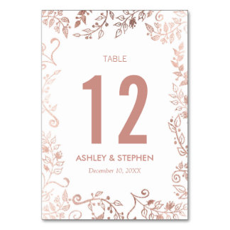 Elegant White Rose Gold Floral Table Numbers