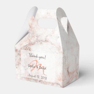 Elegant White Rose Marble Monogram Wedding Favor Favor Box