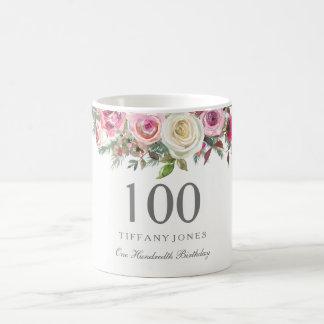 Elegant White Rose Pink Floral 100th Birthday Coffee Mug