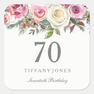 Elegant White Rose Pink Floral 70th Birthday Square Sticker