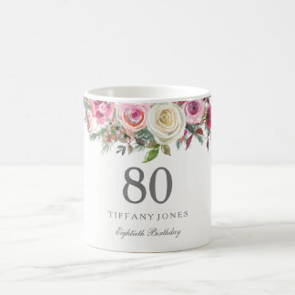 Elegant White Rose Pink Floral 80th Birthday Coffee Mug