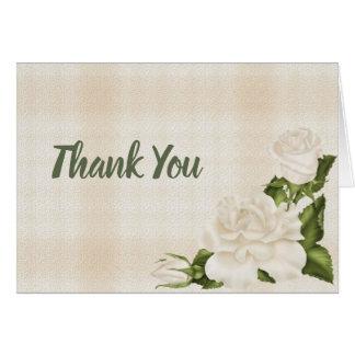 Elegant White Rose Thank You Card