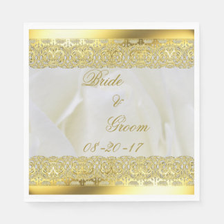 Elegant White Rose with Gold Lace Paper Napkins