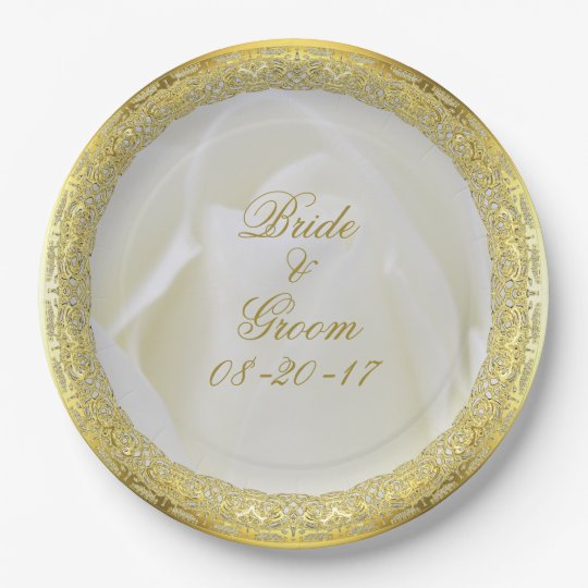 Elegant White Rose with Gold Lace Paper Plate