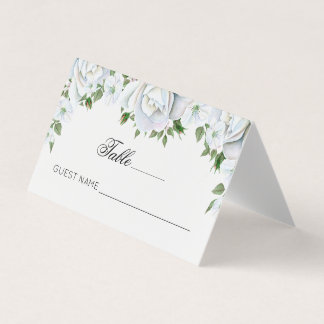 Elegant White Roses Bouquet Place Card