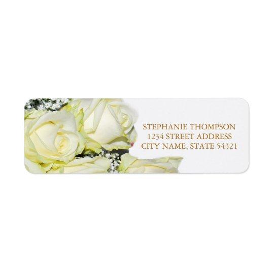 Elegant White Roses Wedding Address Label