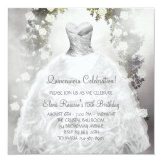 Elegant White Roses White Quinceanera Invitations