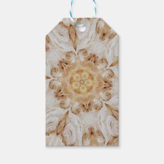Elegant White Rustic Kaleidoscope Flower Design Gift Tags