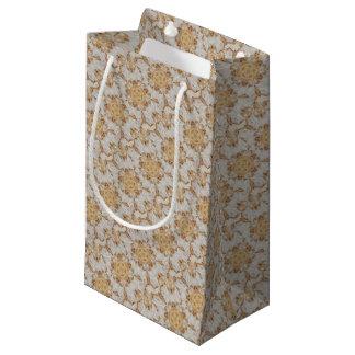 Elegant White Rustic Kaleidoscope Flower Design Small Gift Bag