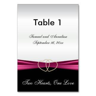 Elegant White Satin with Pink Satin Ribbon Table Cards