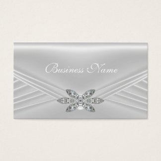 Elegant White Silver Diamond Image Business Card