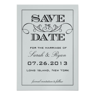 Elegant White & Silver Save the Date Announcement