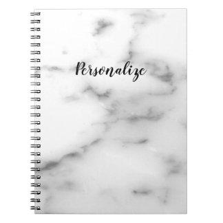Elegant white stone marble custom notebook