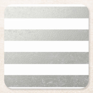 Elegant White Stripes Silver Foil Printed Square Paper Coaster