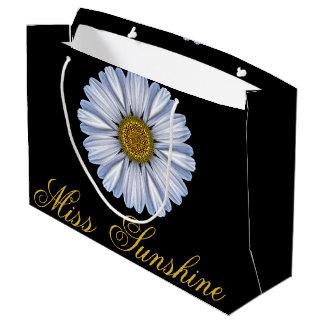 Elegant White Sunflower on Black Large Gift Bag