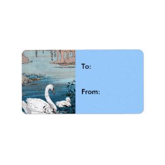 Elegant White Swan Baby Gift Tag