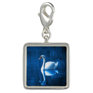 Elegant White Swan Calm Blue Lake Charms