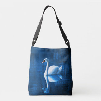 Elegant White Swan Calm Blue Lake Crossbody Bag