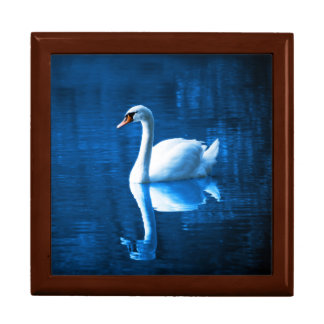 Elegant White Swan Calm Blue Lake Gift Box
