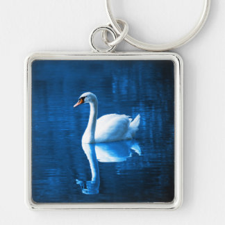 Elegant White Swan Calm Blue Lake Keychain