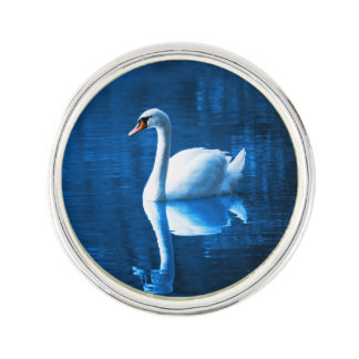 Elegant White Swan Calm Blue Lake Lapel Pin
