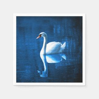 Elegant White Swan Calm Blue Lake Paper Napkins