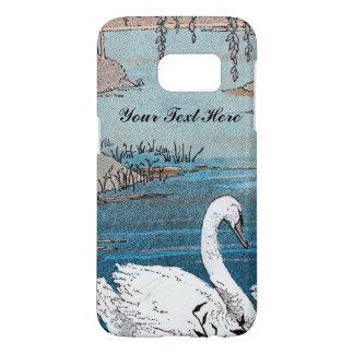 Elegant White Swan Gray Beak in Blue Lake Samsung Galaxy S7 Case