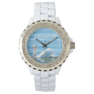 Elegant White Swan Personalized Name Watch