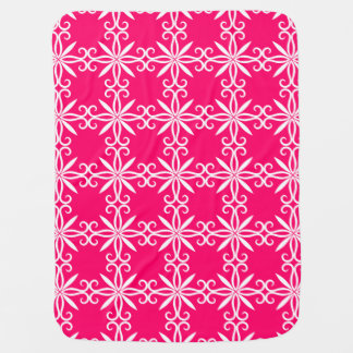 Elegant white swirly pattern on hot pink stroller blankets