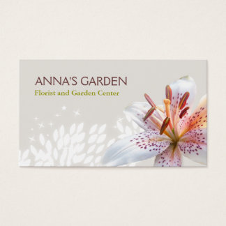 Elegant White Tiger Lily Florist and Garden Shop Business Card