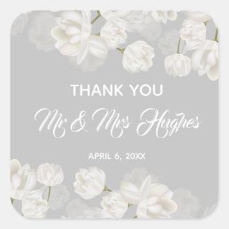 Elegant white Tulip Wedding  thank you Square Sticker
