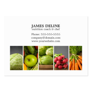 Elegant White Vegetables Nutrition Chef Large Business Card
