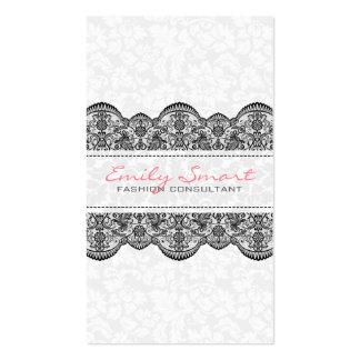 Elegant White Vintage Damasks Black Lace Business Card
