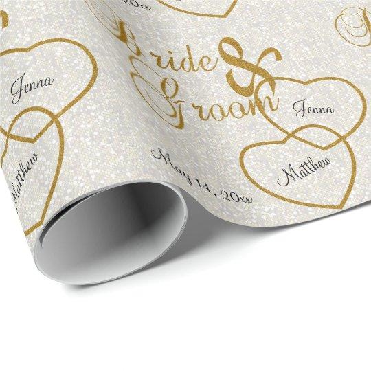 Elegant White Wedding Confetti and Gold Lettering
