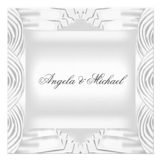 Elegant White Wedding Invitation Personalized Invites