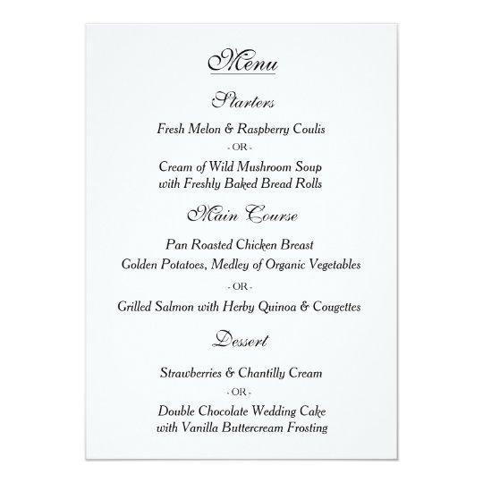 Elegant White Wedding Menu Card