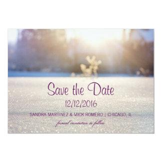 Elegant White Winter Wedding Save the date card
