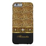 Elegant Wild Leopard Black Gold Jewel Trim Barely There iPhone 6 Case