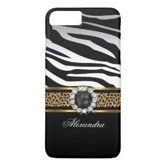 Elegant Wild Zebra Stripe Leopard Black Gold Pearl iPhone 8 Plus/7 Plus Case