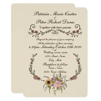 "Elegant Wildflower Wedding Invitation.5"" x 7"" Card"