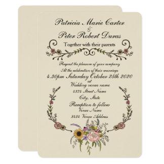 """Elegant Wildflower Wedding Invitation.5"""" x 7"""" Card"""