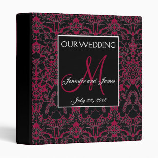 Elegant Wine Red Damask Monogram Wedding Planner Vinyl Binder