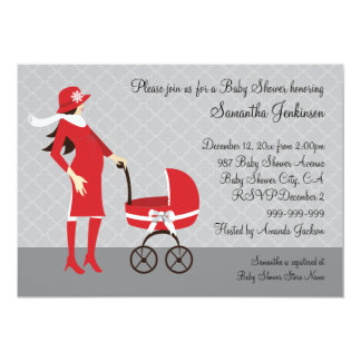 "Elegant Winter Gray and Red Baby Shower 5"" X 7"" Invitation Card"